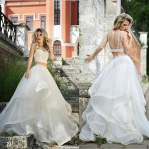 New Arrival Two Piece Roberto Motti Backless Wedding Dress Organza
