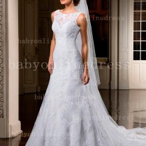 New Sexy Bateau Collar Wedding Dresses For Sale Appliques Court