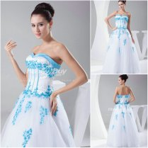 Organza A Line Sweetheart Floor Length White And Blue Wedding Dress