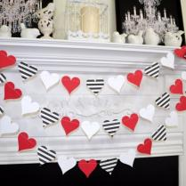 Paper Heart Garland, Valentines Day Garland, Queen Of Hearts