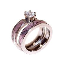 Pink Camo Wedding Rings With Real Diamonds Look Glamorous And Chic