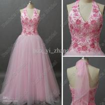 Pink Glitter Flower Beaded Tulle Wedding Dress Halter V Neck Lace