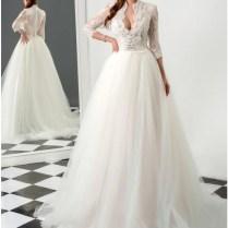 Popular High Collar V Neck Wedding Dress