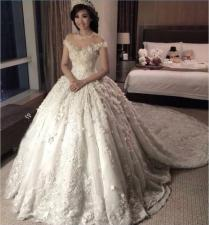 Princess 2016 Full Lace Wedding Dresses Sheer Jewel Neck Cap