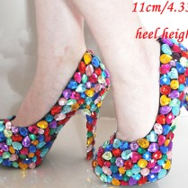 Princess Candy Colorful Wedding Shoes Different Color 4'' Crystal