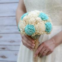 Ready To Ship, Aquamarine Wedding Bouquet, Lasting Wedding Flowers
