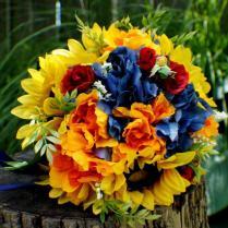 Ready To Ship Wedding Bouquet, Sunflower Bridal Bouquet, Silk