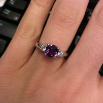 Real 14k White Gold Purple 6 5mm Vs Amethyst Pave 0 40ct Diamond