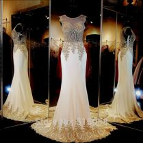Real Sample Gold Embroidery Beaded Long Chiffon Ivory Wedding