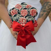 Red And Black Lollipop Bouquet, Bridal Bouquet, Wedding Bouquet