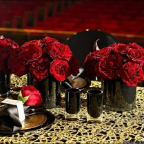 Red Rose Wedding Centerpieces In Black Vases