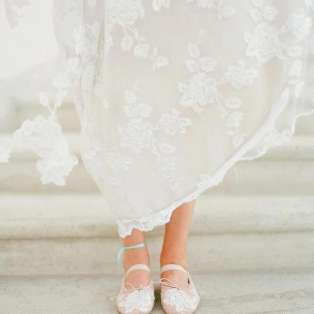 Romantic Wedding Dress Pretty Ballet Flats