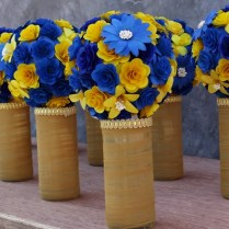 Royal Blue And Yellow Wedding Bouquets, Pomanders, Corsages And