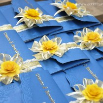 Royal Blue And Yellow Wedding Invitation