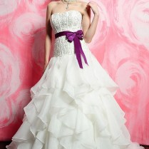 Ruffled Fit And Flare Strapless Organza Wedding Dress With Violet