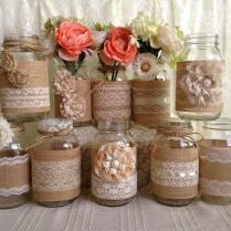 Rustic Burlap And Lace Covered Mason Jar Vases 2156921