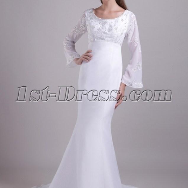 Scoop Long Sleeves Mermaid Winter Wedding Dress 081 1st