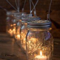Set Of 5 Hanging Mason Jar Candle Holders By Smokestackstudios
