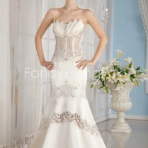 Sexy Ivory Strapless Fishtail Mermaid Wedding Dresses With Sheer