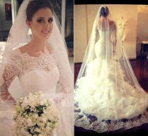 Shop Discount 2016 Full Lace Long Sleeves Mermaid Style Wedding
