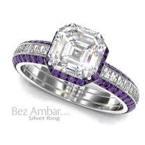 Silvet Amethyst Engagement Ring Set