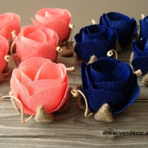 Small Rustic Roses Set Of 10 Coral Navy Blue By Vendecorhandmade