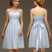 Summer Casual Chiffon Short Light Blue Bridesmaids Dresses With