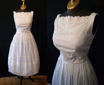 Summer Wedding 1950's White Cotton Eyelet Sun Dress By Wearitagain