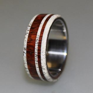 Titanium Ring With Cocobolo Wood And Deer Antler Inlay, Wood Ring