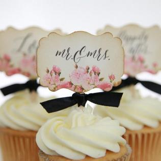 Vintage Floral Wedding Cupcake Toppers, Mr & Mrs , Love, Happily