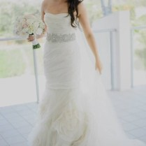 Vintage Mermaid Strapless Ruched Bodice Tulle Spring Wedding Dress