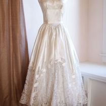 Vintage Wedding Dress 1940's Lace And Satin Tea
