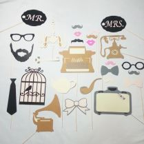 Vintage Wedding Photo Booth Props 27 Pc , Wedding Photobooth
