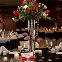 Wedding Red And Silver Wedding Centerpieces