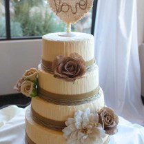 Wedding Cake 4 Tier Rustic Love Burlap Flowers Buttercream – Pixy