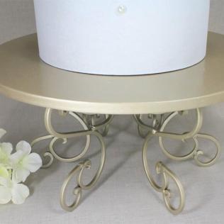 Wedding Cake Stand Champagne Swirl Pedestal, Light Gold Cupcake