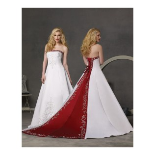 Wedding Dress White With Red Trim