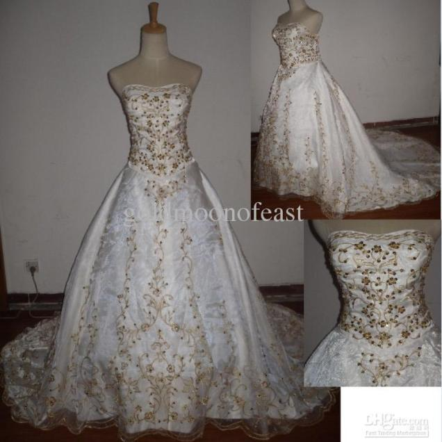 Wedding Dress With Gold Embroidery