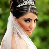 Wedding Hairstyles For Long Hair Half Up With Tiara And Veil