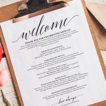 Wedding Itinerary, Welcome Bag, Printable Itinerary, Welcome
