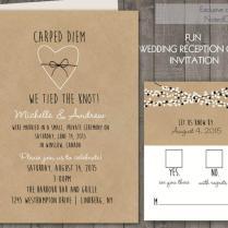 Wedding Reception Only Invitations On Kraft Paper Rustic Wedding