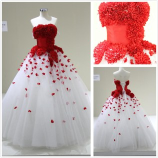 White And Red Wedding Dresses From China