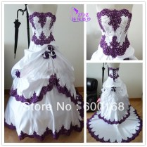 White Wedding Dresses With Purple