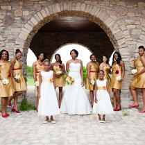 Wine Red And Gold Bridesmaid Dresses