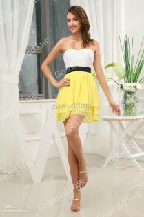 Yellow Black And White Bridesmaid Dresses