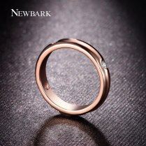 18k Rose Gold Plated Unisex 1 5mm Thick Wedding Band With Four Pcs