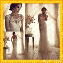 2015 Anna Campbell Vintage Lace Tulle Goddess Sheath Wedding