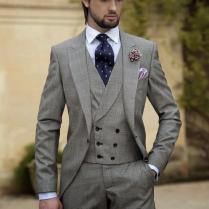 2015 Vintage Grey Mens Suits Peaked Lapel Wedding Suits For Men