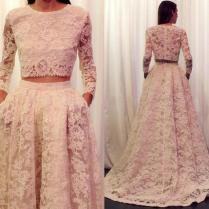 2016 Lace Wedding Dresses Long Sleeve Plus Size Wedding Dress Two