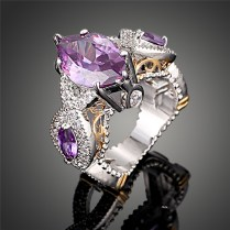 2016 New Fashion Purple Crystal Platinum Plated Luxury Austrian